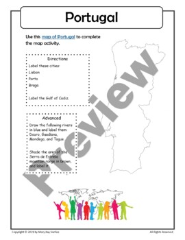 Portugal:  Worksheets,  Maps, and Journaling Pages