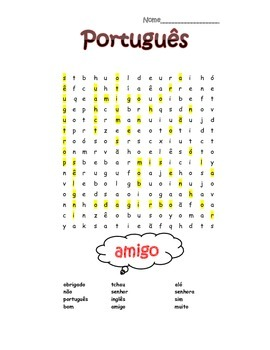 Portuguese 1st Words Search Puzzle