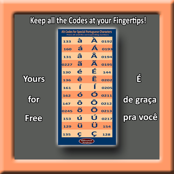 Portuguese Accent Marks Alt Codes for PCs