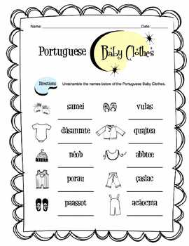 Portuguese Baby Clothes Worksheet Packet