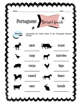 Portuguese Barnyard Animals Worksheet Packet