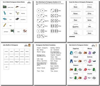 Portuguese Bundle for Smart Teachers 10 beginner units ☆147+☆ NO PREP printables