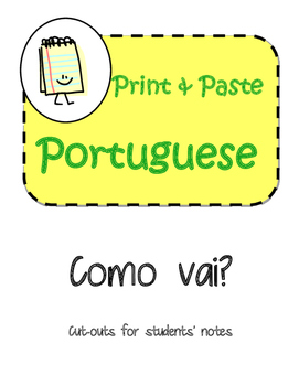 Portuguese Conversation Starters Interactive Notebook Print and Paste