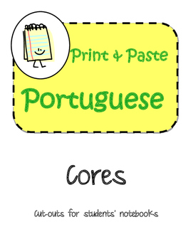 Portuguese Cores Colors Interactive Notebook Print and Paste