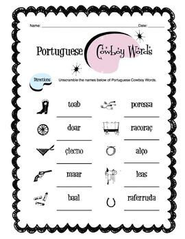 Portuguese Cowboy/Western Words Worksheet Packet
