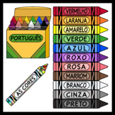 Crayons in  Portuguese / Colors in Portuguese (High Resolution)