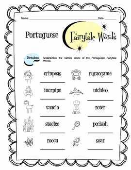 Portuguese Fairytale Words Worksheet Packet