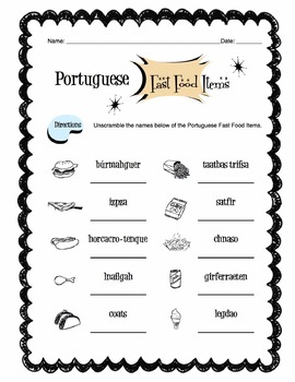 Portuguese Fast Food Words Worksheet Packet