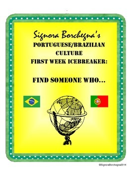 Portuguese First Week Scavenger Hunt / Find Someone Who