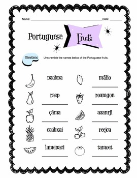 Portuguese Fruits Worksheet Packet