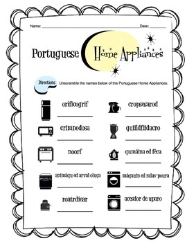 Portuguese Home Appliance Worksheet Packet