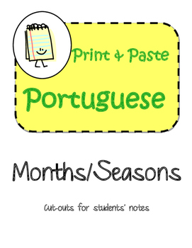Portuguese Months & Seasons Interactive Notebook Print and Paste