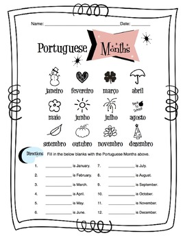 Portuguese Months Worksheet Packet