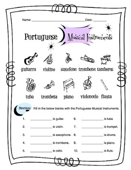 Portuguese Musical Instruments Worksheet Packet