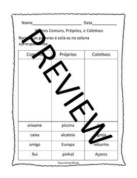 Portuguese Nouns (Nomes Comuns, Proprios, e Coletivos)