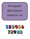 Portuguese Numbers Numeros 1-10 Word Search Puzzle