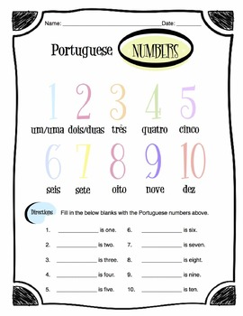 Portuguese Numbers Worksheet Packet