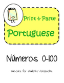 Portuguese Numbers Interactive Notebook Print and Paste