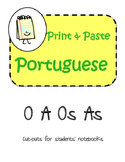 Portuguese O A Os As Interactive Notebook Print and Paste