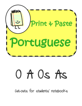 Portuguese O A Os As Interactive Notebook Print and Paste