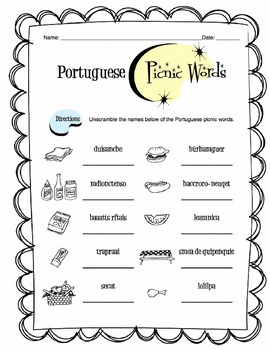 Portuguese Picnic Words Worksheet