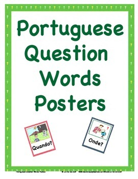 Portuguese Question Words Visuals (in color)
