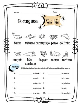 Portuguese Sea Life Worksheet Packet