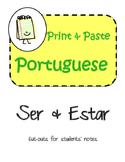 Portuguese Ser and Estar Interactive Notebook Print and Paste