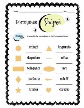 Portuguese Shapes Worksheet