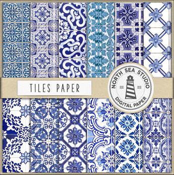 Portuguese Tiles Digital Paper