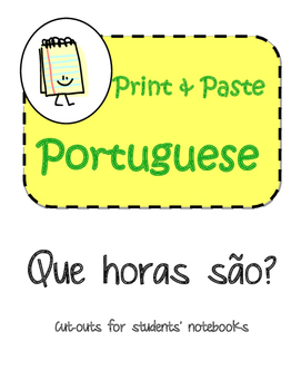 Portuguese Time As Horas Interactive Notebook Print and Paste