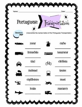 Portuguese Transportation Words Worksheet