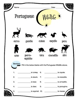 Portuguese Wildlife Worksheet Packet