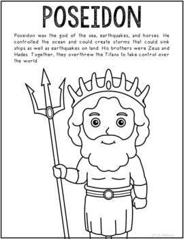 Poseidon, Greek Mythology Informational Text Coloring Page