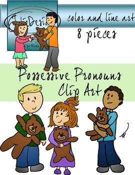 Posessive Pronouns Clip Art - Color and Line Art 8 pc set