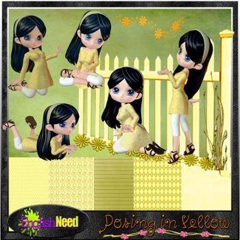 Posing in Yellow Digital Clip Art