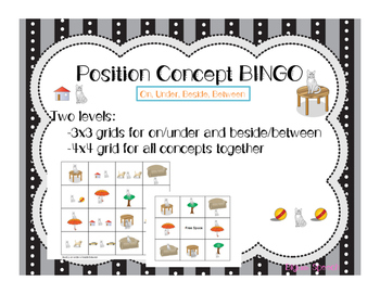 Position Concepts BINGO for under/on/beside/between for Speech Language Therapy
