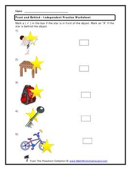 Position (Front, Behind) Teacher Worksheet Pack