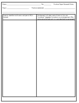 Position Paper Writing Process Packet