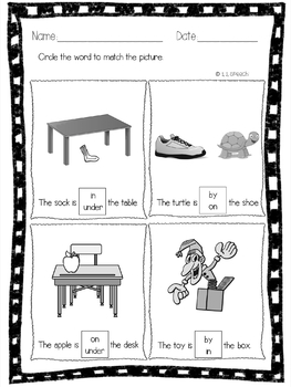 Position Prepositions Packet