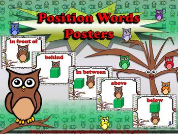 Position Words Posters - Owl Theme - King Virtue