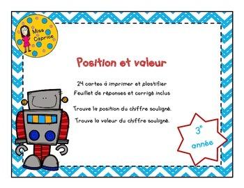 Position et valeur - Cartes à tâches - 3e année