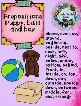 Positional Language Posters and Activities: Puppy, Ball, and Box