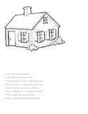 Positional / Location Words Worksheet with a House