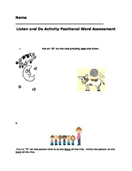 Positional Words Activity