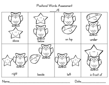 Positional/Placement Words : Cut and Paste Activities, Mini Book ...
