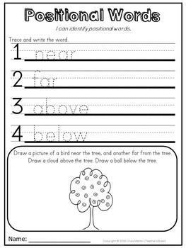 Positional Words Kindergarten and 1st Grade Activities Unit