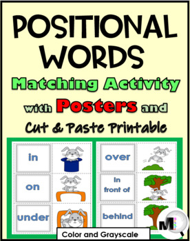 Positional Words Matching, Posters & Cut & Paste Printable (Prepositions)