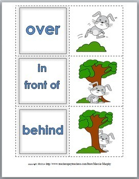 Positional Words Match, Posters & Printable (Prepositions)