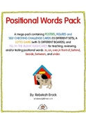 Positional Words Pack:  Posters, Lotto Game, Flashcards and Figure Challenges!